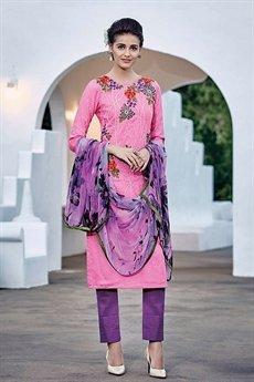 Brink Pink Designer Cotton Jacquard Salwar Suit
