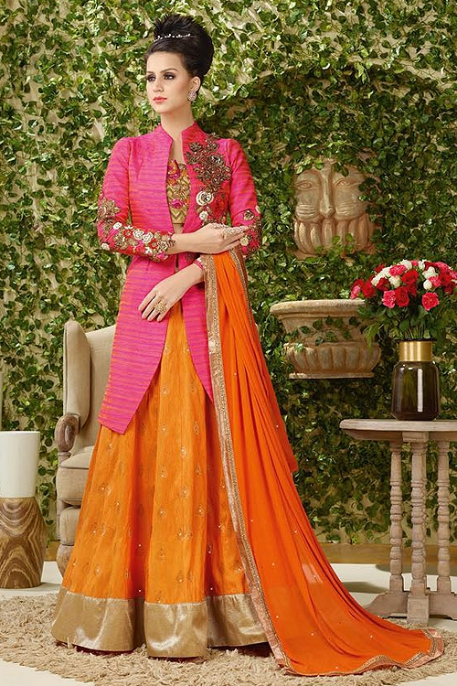 Drop Dead Gorgeous Bright pink and Orange embroidered lehenga jacket suit.