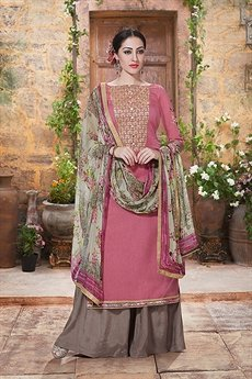 Haya Charming And Beautiful Plazzo Straight Cut Suit With Printed Dupatta In Dusty Pink
