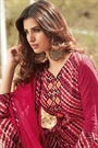Red Printed Salwar Suit  With Chikan Embroidery Sleeves in Cotton