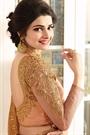 Peach Royal Rangoli Georgette Designer Saree