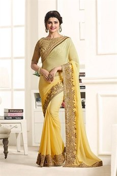 Gorgeous and Beautiful Yellow Chiffon Saree