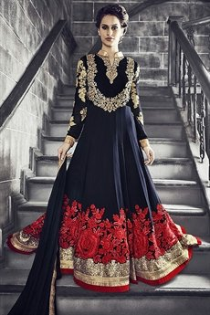 Safeena Pure Georgette Floor Length Anarkali With Heavy Embroidery In Navy Blue