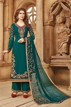 Beautiful Bottle Green Palazzo Suit in Georgette