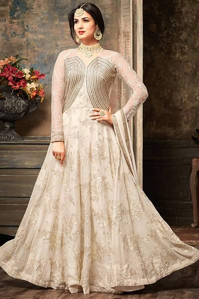 Off-White Designer Embroidered Anarkali Suit  In Georgette
