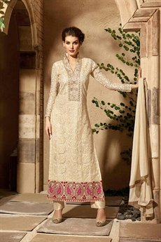 Cream Colour Georgette Designer Straight Cut Salwar/Churidar Suits