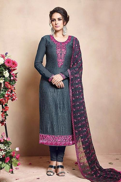 Pure Georgette Salwar Suits in Grey