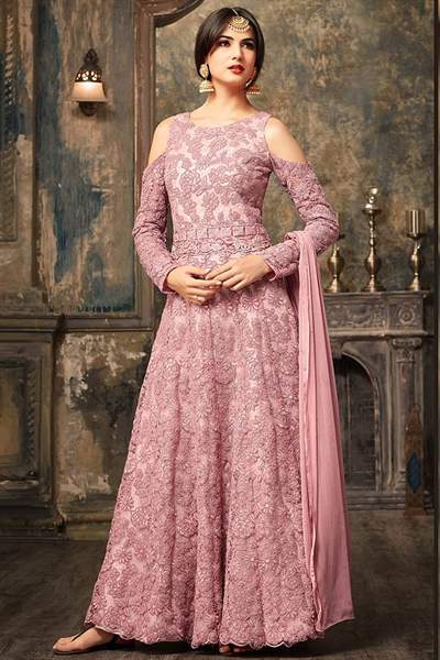 Dusky Pink Embroidered Net Floor Length Cold Shoulder Anarkali Gown