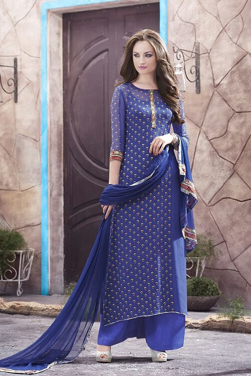 Haya Casual Wear Digital Printed Plazzo Suit In Strong Blue
