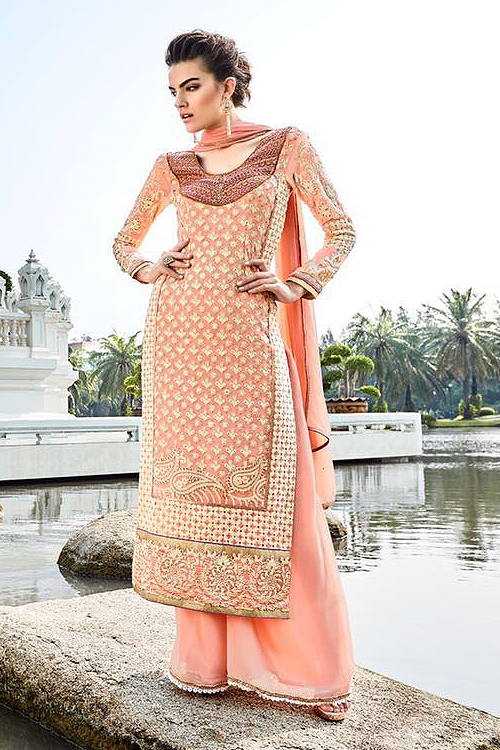 Khwaab Miraj Pure Georgette Embellished Straight Cut Suit In Peach