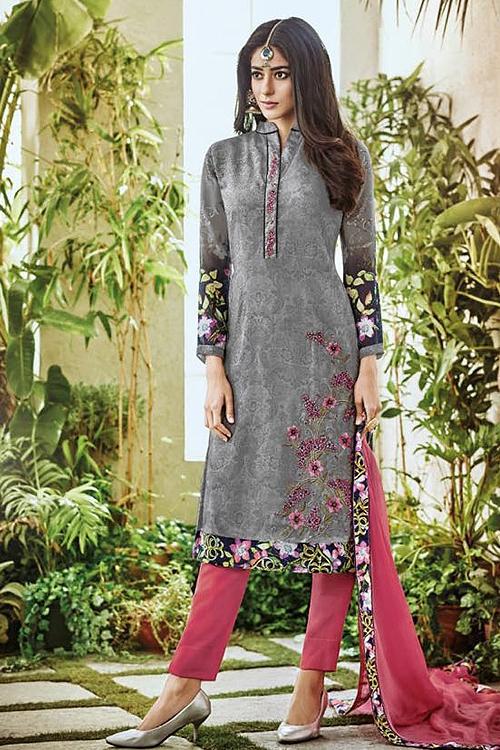 Grey Pure Georgette Printed Straight Salwar Suit