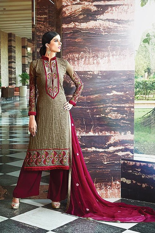 Choco Brown Embroidered Pure Georgette Suit