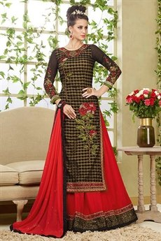 Stunning Black And Red Embroidered Net Lehenga Suit