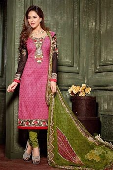 Hemani  Crepe Printed Straight Suit With Embroidery In Pink