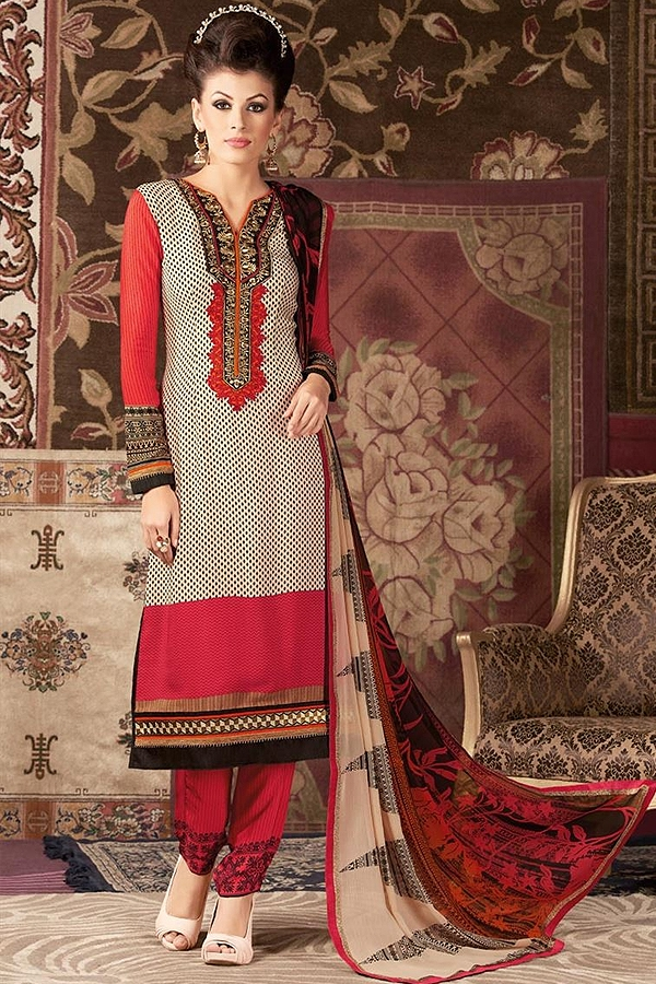 Beige and Red Printed straight long Salwar Suit