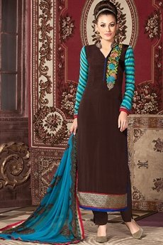 Green and Dark Brown Embroidered French Crepe Straight Long Suit Set