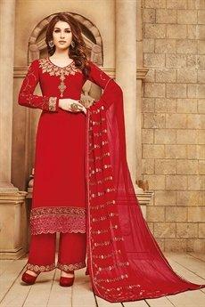 Red Georgette Salwar Suits with Heavy Nazmin chiffon work dupatta