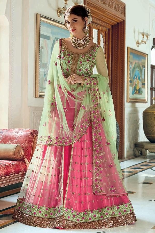 Stunning Bhagalpuri Pink & Mint Green Anarkali with Lehenga and Pant