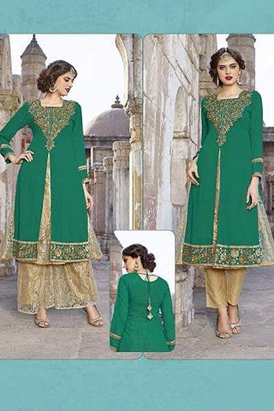 Hot Lady Impressive Georgette Designer Kurti In Emerald Green