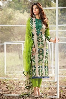 Stylish Green beige multi colour cotton lawn suit with digital print & chicken embroidery sleeves