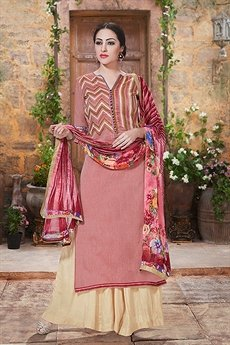 Haya Dusty Pink Color Charming And Beautiful Plazzo Straight Cut Suit With Printed Dupatta