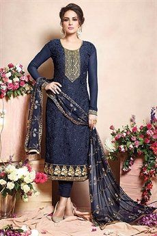 Pure Georgette Salwar Suits in Navy Blue