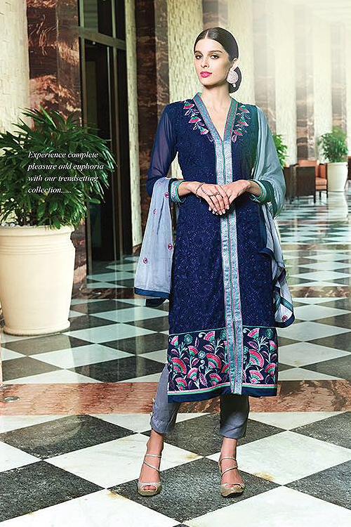 Navy Blue Pure Georgette Suit With Embroidery