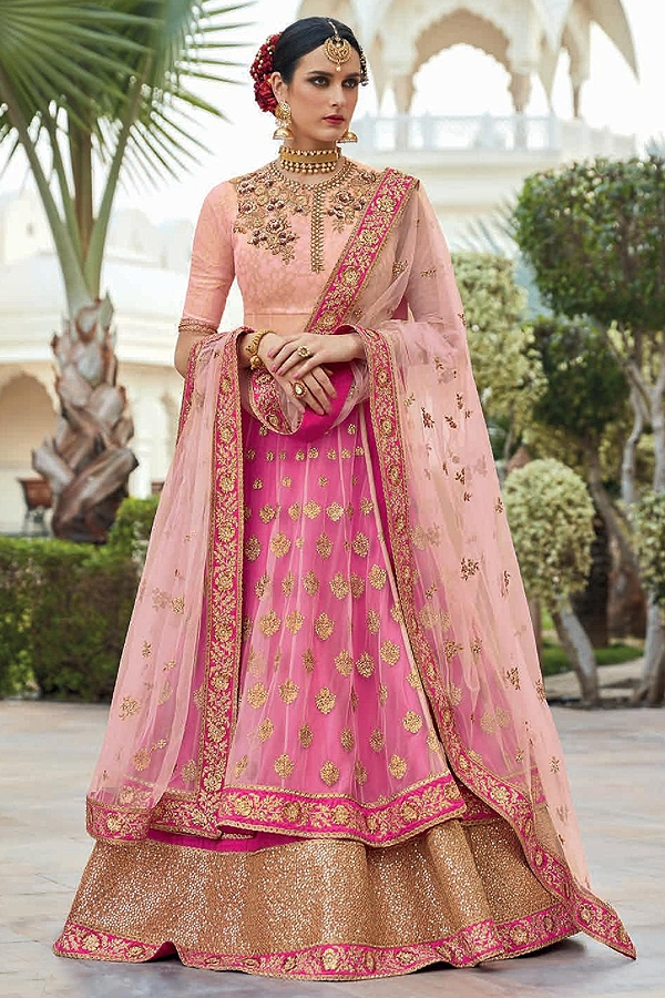 Dusty Peach and Fuchsia Pink Anarkali Suit With Lovely Sequined Border Pants & Lehenga