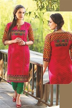 Beautiful Rani Color Pink Printed Kurti With Embroidery