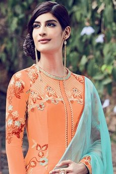 Light Orange Floral Embroidered Palazzo/ Salwar Suit