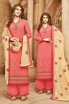 Coral Pink & beige Salwar / palazzo Suit with embroidery
