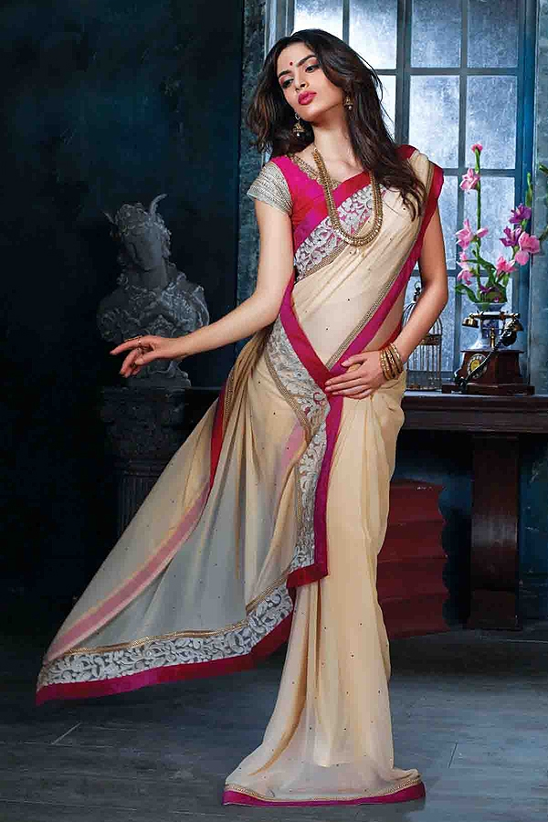 Beige Pink Embroidered Chiffon Saree