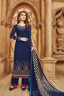 Elegant Navy Blue Embroidered Georgette Salwar/Palazzo Kameez