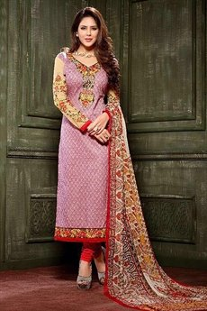 Light Purple Crepe Printed Straight Style Salwar Suit