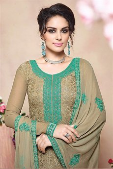 Pure Georgette Salwar Suits in Olive Green