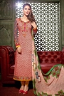 Red and White Printed Pure Crepe Straight Style Salwar Suits