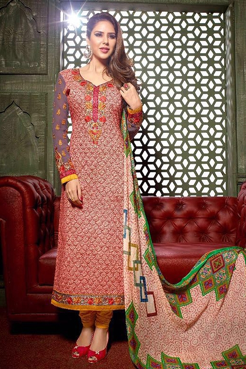 Peach Crepe Printed Straight style Salwar Suits