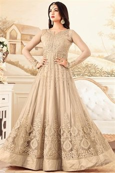 Fascinating Beige Net Floor-Length Ethnic Anarkali Suit