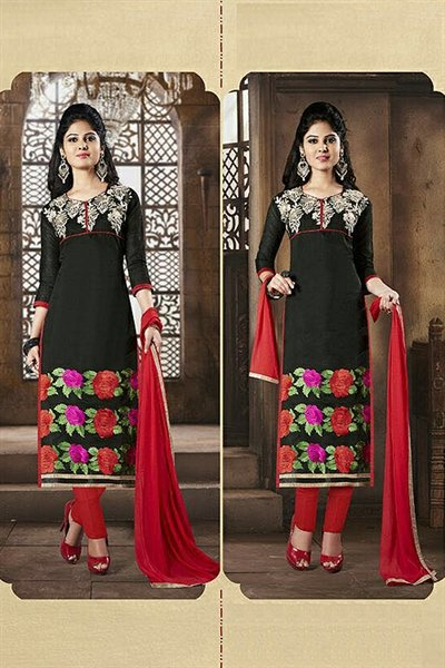 Black & Red Embroidered Chanderi Cotton Salwar Kameez