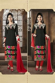 Chanderi Cotton Salwar Kameez in Black & Red