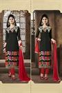 Black & Red Embroidered Chanderi Cotton Salwar Kameez