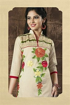 Chanderi Cotton Salwar Suits in Off White & Red