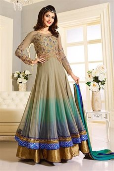 Elegant Beige and Blue Designer Anarkali suit