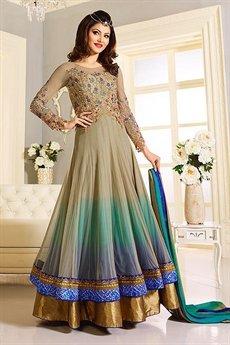 Elegant Beige and Blue Designer Anarkali suit