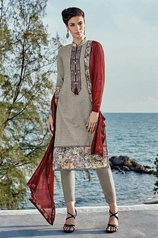 Grey Chinkari Work Straight Cut Salwar Suits