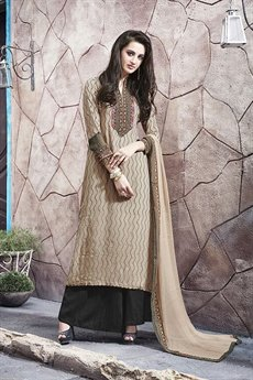 Casual Digital Printed Plazzo Suit In Beige