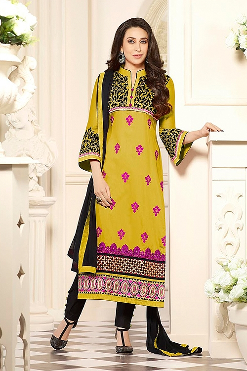Yellow Cotton Salwar Kameez By Karishma