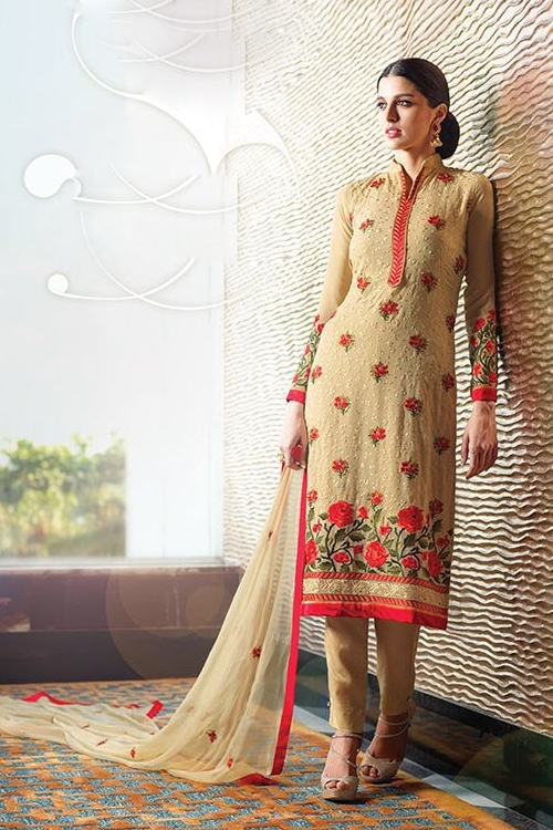 Cream Pure Georgette Suit With Embroidery