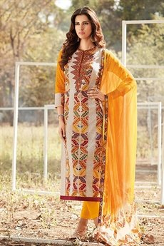 Stylish Yellow beige multi colour cotton lawn suit with digital print & chicken embroidery sleeves