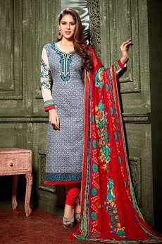 Grey Crepe Printed Straight cut Salwar Suits